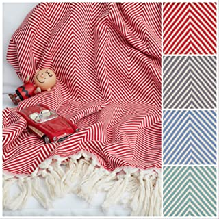 Loom to Bloom Lily Cotton Throw Blanket with Fringe for Chair, Couch, Sofa, Bed, Picnic, Camping, Home Décor & Everyday Use, 65inchx75inch, Red
