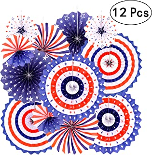 Independence Day Party Hanging Paper Fans Decorations -National Day Patriotic American Theme Birthday Party 4th of July Party Ceiling Hangings Photo Booth Backdrops Decorations, 12pc