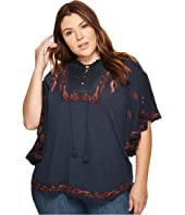 Lucky Brand - Plus Size Lace-Up Embroidered Peasant Top