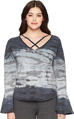 Hard Tail Flare Sleeve Crisscross Pullover