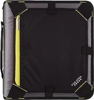 Five Star Zipper Binder, 2 Inch 3 Ring Binder, Expansion Panel, Durable, Black/Yellow (29052BB7)
