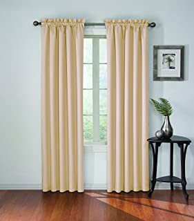 ECLIPSE Blackout Curtains for Bedroom-Corinne Insulated Darkening Single Panel Rod Pocket Window Treatment, Living Room, 42