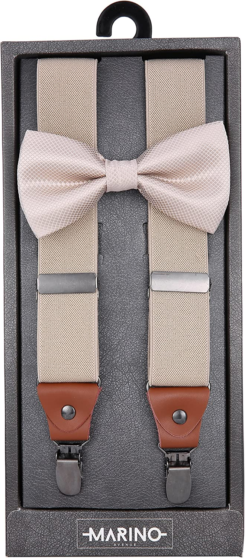 Marino Bow Tie and Suspenders Set - Dress Y-Back Suspenders For Men and Teens - Elastic Clip Suspenders - 1.25