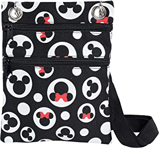 Disney Passport Crossbody Bag Mickey & Minnie Icon Print Travel Black (Multicolor)