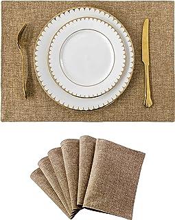 طقم مفارش منزلية من القماش الرائع مكون من 6 قطع مقاوم للحرارة لطاولة الطعام ومفارش طاولة المطبخ والكتان الطبيعي