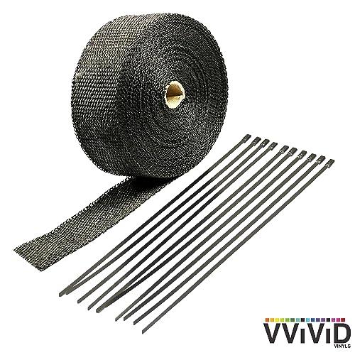 304 IZTOSS 2//25 x 2 x 32.8 Black Fiberglass Exhaust Heat Wrap Heat Shield Sleeve with 6 Stainless Steel Zip Ties