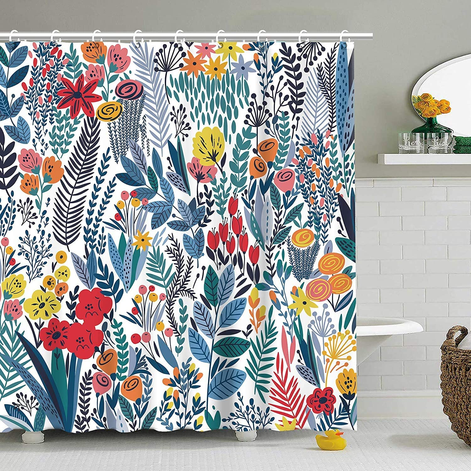 Stacy Fay Shower Curtain, Floral Shower Curtains Set for Bathroom, Waterproof Fabric Bath Curtain with Hooks, 72x72 Inch, Decorative Warm Color, White Background Blue Leaves and Flowers
