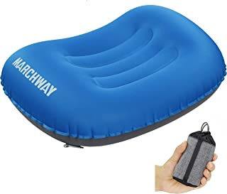 MARCHWAY Ultralight Compact Inflatable Camping Pillow, Soft Compressible Portable Travel Air Pillow for Outdoor Camp, Sport, Hiking, Backpacking Night Sleep and Car Airplane Lumbar Support