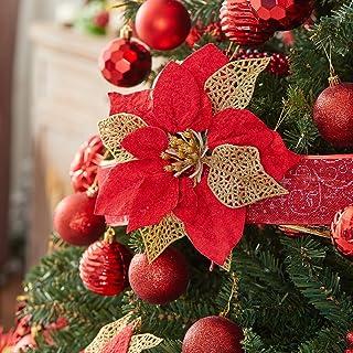 10 Pcs Glitter Poinsettia Christmas Flowers, Christmas Tree Ornaments , Artificial Xmas Flowers, Christmas Tree Decoration...