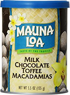 Mauna Loa Macadamias, Milk Chocolate Toffee, 5.5-Ounce Canisters (Pack of 6)