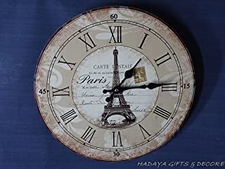 Wooden Wall Clock 13 Inch Round Shabby Chic French Decor Effel Tower Retro Look