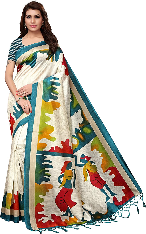 Jaanvi fashion Women's Art Silk Unique Printed Saree with Tassels(SplashParent)