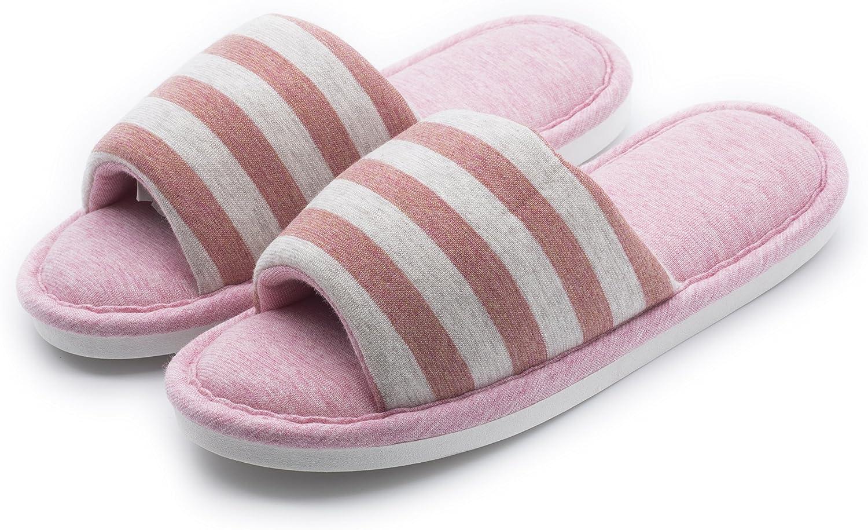Y-Nut Linen Cotton Winter Indoor Slipper, Men Women Couple Indoor Warm Soft Clog Open Toe Pink Stripe TX01-PINK