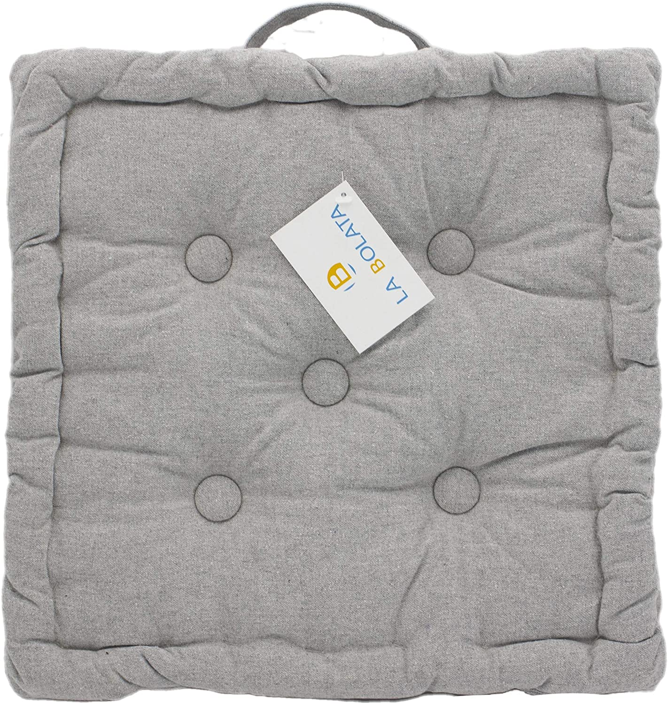cuscino imbottito da pavimento 40 x 40 x 8 cm LEYENDAS Cuscino per sedia 100/% cotone colore azzurro per interni ed esterni