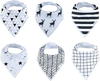 Baby Bandana Drool Bibs Organic 6 Pack for Boys and Girls Absorbent Soft Cotton for Teething Feeding Unisex Baby Shower Gift Set Burp Cloth from Lil Dandelion (Urban)