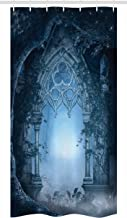 """Ambesonne Fantasy Stall Shower Curtain, Passage Doorway Through Enchanted Foggy Palace Garden at Night View, Fabric Bathroom Decor Set with Hooks, 36"""" X 72"""", Navy Blue and Grey"""