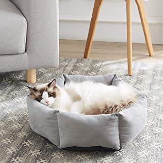 Cat Beds for Indoor Cats/Dogs with Round Soft Cushion,20in Pet Bed For Cats or Small Dogs, Anti-Slip & Water-Resistant Bottom, Super Soft Durable Fabric Pet Supplies, Machine Washable Luxury Cat & Dog Bed, Grey