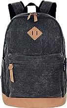 Unisex Lightweight Canvas College Backpacks Travel Hiking Laptop Backpack Rucksack Schoolbags School Book bag Daypack (Bla...