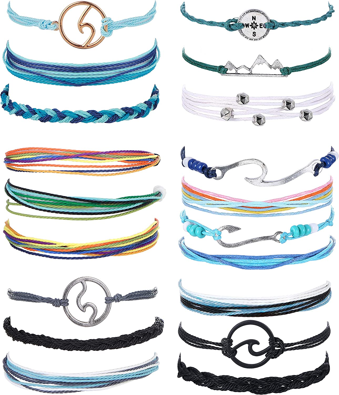 CASSIECA 19 Pcs Surfer Wave Strand Bracelet for Womens Mens Beach Wax Wrap Rope Bracelet Anklet Set Adjustable Friendship Handcrafted Waterproof Fashion Charm Jewelry