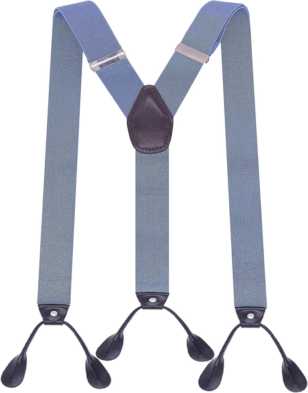 MENDENG Suspenders Men Leather Button End Elastic Tuxedo Y Back Braces Wedding