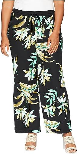 Plus Size Tropical-Print Wide-Leg Pants