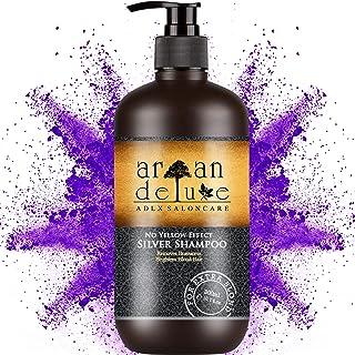 Shampoo Antigiallo Argan Deluxe in qualità professionale 300 ml - Shampoo Silver - aiuto efficace contro riflessi gialli a...