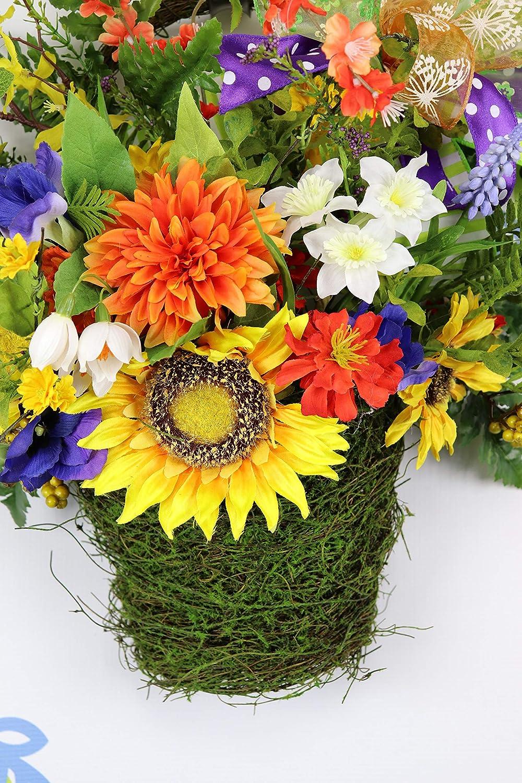 Spring Sunflower Door Popular products Floral Arrangement Basket Limited time trial price