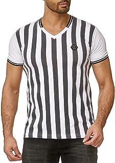 Camiseta Manga Corta V-Cuello para Hombres con Rayas de Árbitro Basic T-Shirt Blanco-Negro