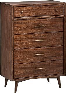 Rivet Jonathan Mid-Century Modern Tall Wood Bedroom Dresser Drawers, 36 Inch Height, Brass Hardware, Walnut