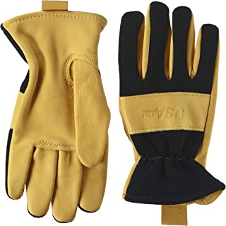 Midwest Gloves & Gear 177-L-AZ-6 USA Leather Glove, Large, Black Spandex with Gold