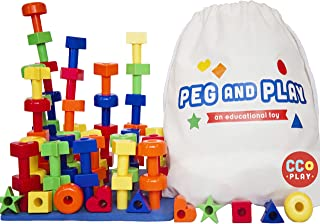 CC O PLAY 50pc Peg Board Stacking Toy for Toddlers - Montessori Educational Building Shapes for Preschoolers - Early Learning Set for Fine Motor Skills - Ebook Pegboard Pattern Cards/Games-Tote Bag