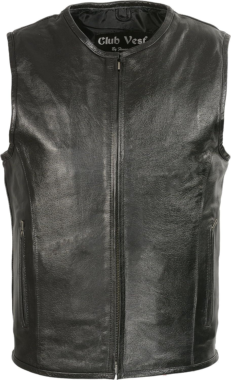 Club Vest Men's Zipper Front Leather Vest w/ Seamless Design