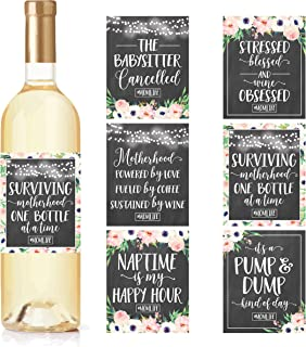 6 Chalk Mommy's First Milestone Stickers or Wine Labels, Great Baby Shower Gift Ideas For Mom To Be, Funny Mom's First Moments Having New Baby Girl or Boy, 1st Date Night With Dad & More