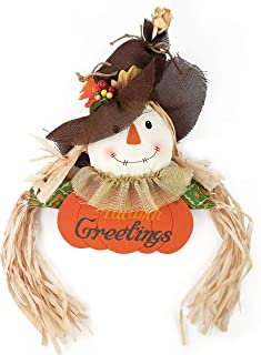 WEWILL Fall Harvest Scarecrow Decor Halloween Thanksgiving Hanging Wall Door Decoration, Autumn Greetings Sign (Girl)