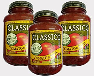 Classico Pasta Sauce, Tomato and Basil - 32 Ounce Glass Jar (Pack of 3)