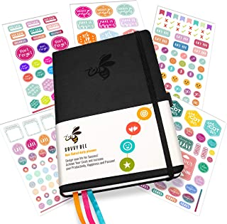 Savvy Bee Undated Daily Planner   Ideal Planner for All Kinds of Lifestyle for Improved Productivity   Set Plans, Achieve Goals & Organize Your Life - Bonus e-Books + 5 Sheets of Stickers   Black