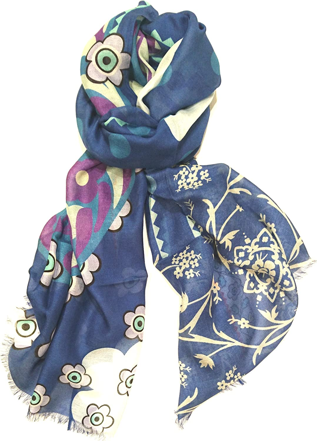 Marina Makaron Designer Limited Edition Cashmere Blend Oblong Pashmina Women Soft Scarf Blue Made In Italy Floral