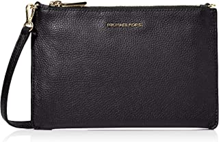MICHAEL Michael Kors Women's Pebbled Leather Double Pouch Crossbody Bag Black