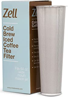 Cold Brew Coffee Maker, Iced Coffee & Tea Maker Infuser for Mason Jars | Durable Fine Mesh Stainless Steel Coffee Maker Filter (Stainless Steel - Tapered, Fits 64 oz Wide Mouth Mason Jars)