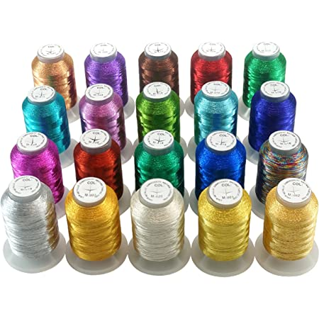18 x Bobines de 200 m Madère clair métallique lisse thread box
