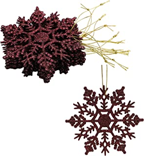 Christmas Concepts® Pack of 12 - 10cm Glitter Snowflake Hanging Decorations - Christmas Decorations (Brown)