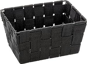 WENKO 20360100 Adria Mini kosz do przechowywania w kolorze czarnym, prostokątny, pleciony z tworzywa sztucznego, polipropy...