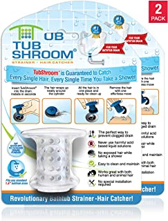 TubShroom Revolutionary Tub Drain Protector Hair Catcher/Strainer/Snare, Clear 2 Count