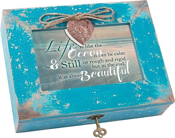 Life Like Ocean Beautiful Distressed Teal Blue Wood Locket Music Box Plays What A Wonderful World