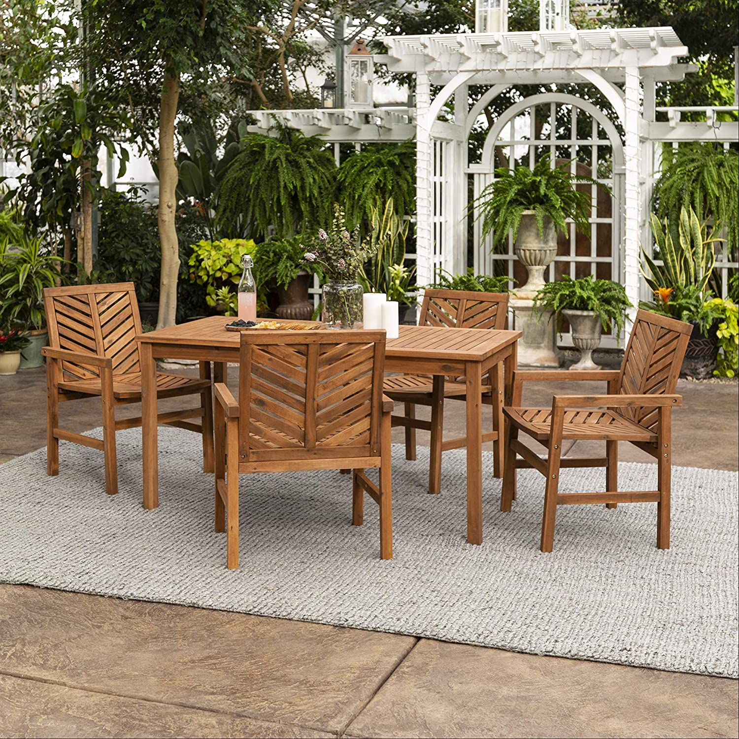 Walker Edison 4 Person Outdoor Wood Chevron Patio Furniture Dining Set Table Chairs All Weather Backyard Conversation Garden Poolside Balcony, 5 Piece, Brown