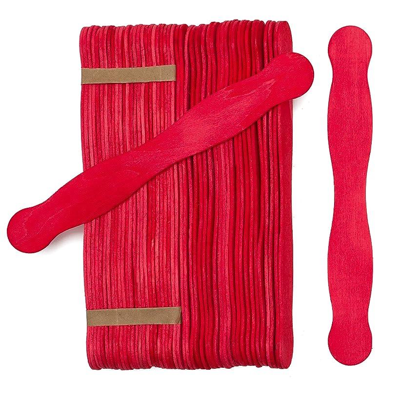 """8"""" Red Wavy Jumbo Wood Fan Handles, Pack of 50 Wedding Fan Sticks (8 inch Red Colored Fan Handle Sticks)"""