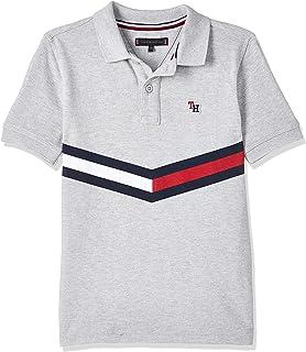 Tommy Hilfiger Boy's Chevron Flag Short Sleeve Polo, (Heather 004), 16