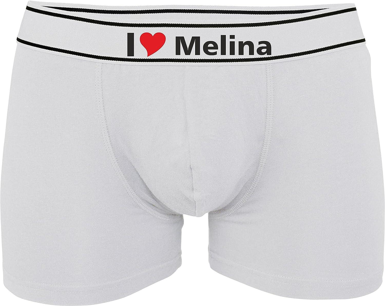Kariban Boxer Homme Imprim/é avec I Love Melina ou Personnalisable