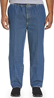 Harbor Bay by DXL Big and Tall Full Elastic-Waist Jeans - Updated Fit, Medium Stonewash, 2X Waist/28 Inseam