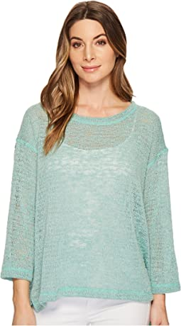 Nally & Millie - Oversize Open Knit Top with Side Slits
